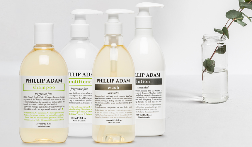 Phillip Adam Hair and Body Care Unscented Collection