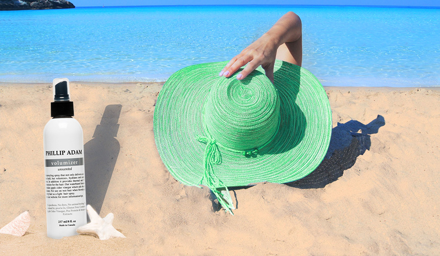 Protect your hair from the sun with hat and volumizer